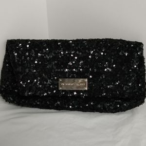 Black sequined Victoria secret clutch